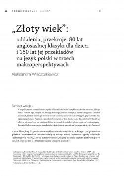 """""""Złoty wiek"""": oddalenia, przekroje. 80 lat anglosaskiej klasyki dla dzieci i 150 lat jej przekładów na język polski w trzech makroperspektywach"""