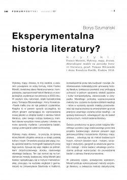 Eksperymentalna historia literatury?