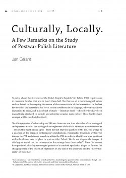 Culturally, Locally. A Few Remarks on the Study of Postwar Polish Literature