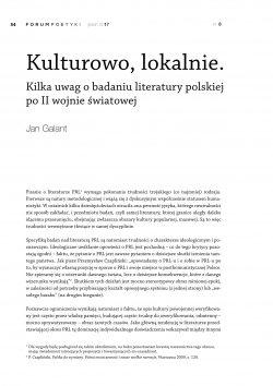 Kulturowo, lokalnie. Kilka uwag o badaniu literatury polskiej po II wojnie światowej