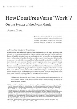 "How Does Free Verse ""Work""? On the Syntax of the Avant Garde"