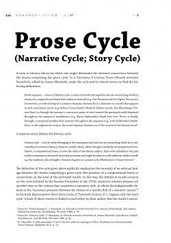 Prose Cycle (Narrative Cycle; Story Cycle)