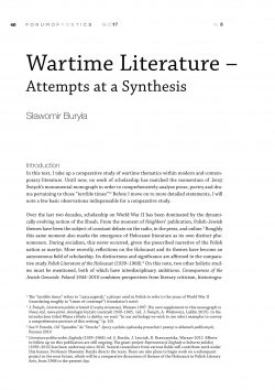 Wartime Literature –  Attempts at a Synthesis