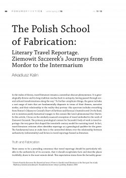 The Polish School of Fabrication: Literary Travel Reportage. Ziemowit Szczerek's Journeys from Mordor to the Intermarium