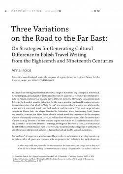 Three Variations on the Road to the Far East: On Strategies for Generating Cultural Difference in Polish Travel Writing from the Eighteenth and Nineteenth Centuries