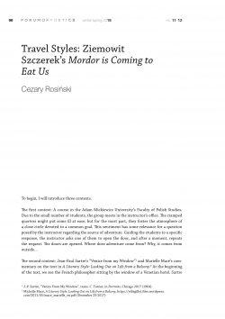 Travel Styles: Ziemowit Szczerek's Mordor is Coming to Eat Us