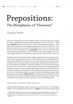 "Prepositions: The Metaphysics of ""Closeness"""