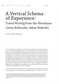 A Vertical Schema of Experience: Travel Writing from the Himalayas (Jerzy Kukuczka, Adam Bielecki)