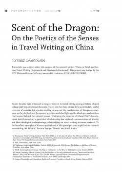 Scent of the Dragon: On the Poetics of the Senses in Travel Writing on China