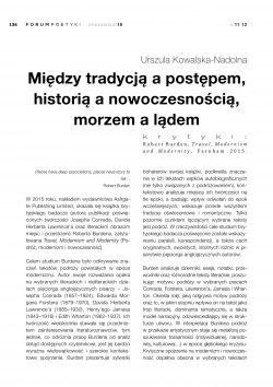 Między tradycją a postępem, historią a nowoczesnością, morzem a lądem