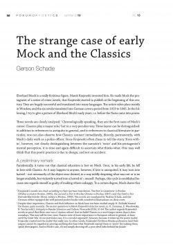The strange case of early Mock and the Classics