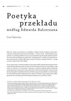 Poetyka przekładu według Edwarda Balcerzana