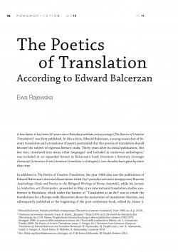 The Poetics of Translation According to Edward Balcerzan