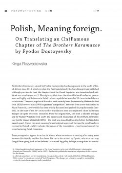 Polish, Meaning foreign. On Translating an (In)Famous Chapter of The Brothers Karamazov by Fyodor Dostoyevsky