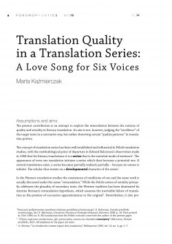 Translation Quality  in a Translation Series: A Love Song for Six Voices