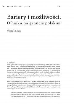 Bariery i możliwości. O haiku na gruncie polskim