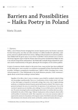 Barriers and Possibilities – Haiku Poetry in Poland
