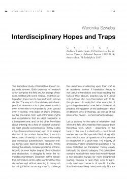 Interdisciplinary Hopes and Traps