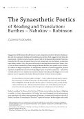 The Synaesthetic Poetics of Reading and Translation: Barthes – Nabokov – Robinson