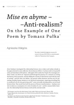 Mise en abyme – Anti-realism? On the Example of One Poem by Tomasz Pułka