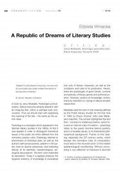 A Republic of Dreams of Literary Studies