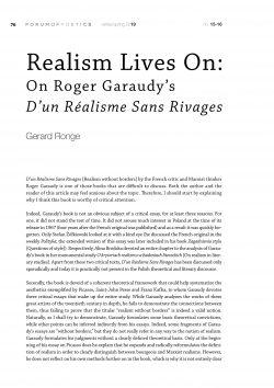 Realism Lives On:  On Roger Garaudy's D'un Réalisme Sans Rivages