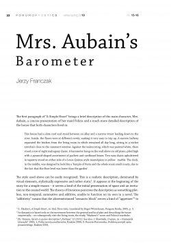 Mrs. Aubain's Barometer