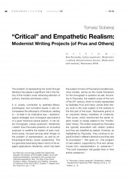 """Critical"" and Empathetic Realism:  Modernist Writing Projects (of Prus and Others)"