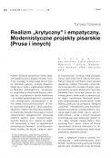 """Realizm """"krytyczny"""" i empatyczny. Modernistyczne projekty pisarskie (Prusa i innych)"""