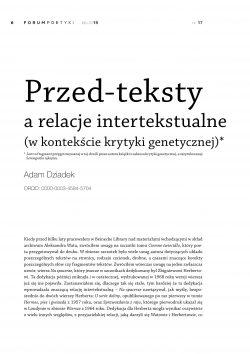 Przed-teksty a relacje intertekstualne (w kontekście krytyki genetycznej)
