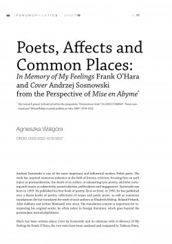 Poets, Affects and Common Places: In Memory of My Feelings Frank O'Hara and Cover Andrzej Sosnowski from the Perspective of Mise en Abyme