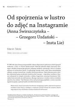 Od spojrzenia w lustro do zdjęć na Instagramie (Anna Świrszczyńska – Grzegorz Uzdański – Insta Lie)