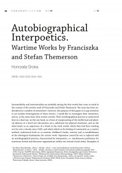 Autobiographical interpoetics. Wartime works by Franciszka and Stefan Themerson