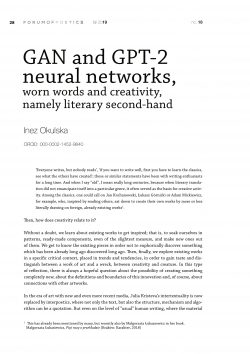 GAN and GPT-2 neural networks, worn words and creativity, namely literary second-hand