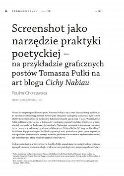Screenshot jako narzędzie praktyki poetyckiej – na przykładzie graficznych postów Tomasza Pułki na art blogu Cichy Nabiau