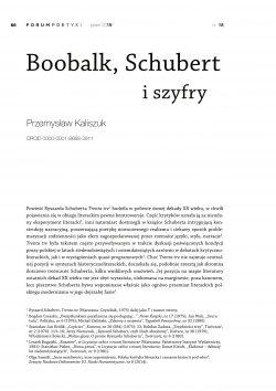 Boobalk, Schubert i szyfry