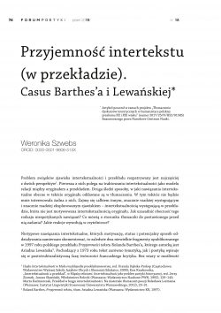 Przyjemność intertekstu (w przekładzie). Casus Barthes'a i Lewańskiej