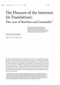 The pleasure of the intertext (in translation):  The case of Barthes and Lewańska