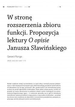 W stronę rozszerzenia zbioru funkcji. Propozycja lektury O opisie Janusza Sławińskiego