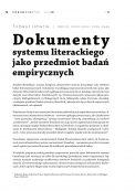 Dokumenty systemu literackiego jako przedmiot badań empirycznych