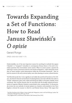 Towards Expanding a Set of Functions: How to Read  Janusz Sławiński's O opisie