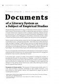 Documents of a Literary System as a Subject of Empirical Studies