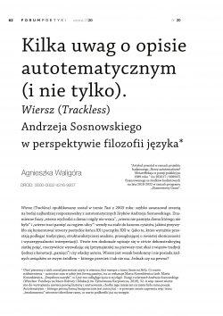 Kilka uwag o opisie autotematycznym (i nie tylko). Wiersz (Trackless) Andrzeja Sosnowskiego w perspektywie filozofii języka
