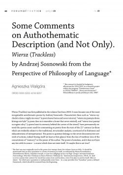 Some Comments on Authothematic Description (and Not Only). Wiersz (Trackless) by Andrzej Sosnowski from the Perspective of Philosophy of Language