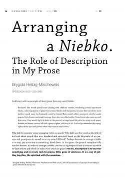 Arranging a Niebko. The Role of Description in My Prose