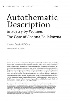 Autothematic Description in Poetry by Women:  The Case of Joanna Pollakówna
