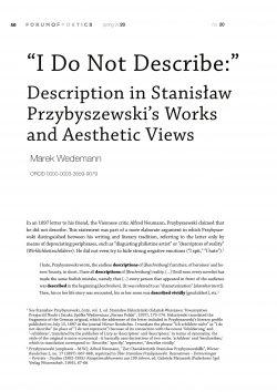 """""""I Do Not Describe:"""" Description in Stanisław Przybyszewski's Works and Aesthetic Views"""