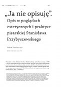 """""""Ja nie opisuję"""". Opis w poglądach estetycznych i praktyce pisarskiej Stanisława Przybyszewskiego"""