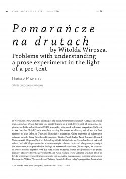 Pomarańcze na drutach by Witold Wirpsza. Problems with understanding a prose experiment in the light of a pre-text