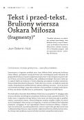 Tekst i przed-tekst. Bruliony wiersza Oskara Miłosza (fragmenty)